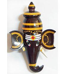 Brown Ganesha Face (wall Hanging) -Chennapatna Doll