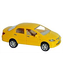 Yellow Sedan Acrylic Toy Car