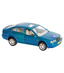Cyan Blue Sedan Acrylic Toy Car