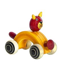 Wooden Cat Car - Chennapatna Toy