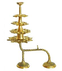 Hand Held 31 Oil Lamps in Three Rows and One on the Top for Puja Aarti (can be dismantled)