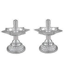 Set of 2 White Metal Five Faced Oil Lamp for Aarti