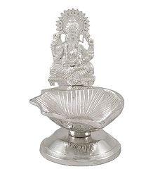 White Metal Oil Lamp with Ganesha