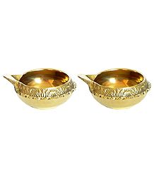 Pair of Brass Kuber Diya