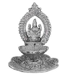 White Metal Oil Lamp with Lakshmi