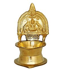 Brass Oil Lamp with Lakshmi