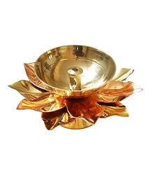 Brass Lotus Oil Lamp
