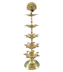 Brass 5 Tier Oil Lamp with Peacock