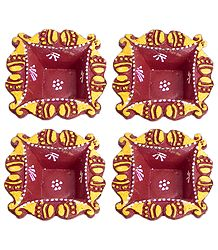 Set of Four Hand Painted Maroon Square Diya