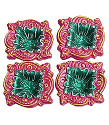 Set of Four Hand Painted Dark Pink with Green Designer Diya