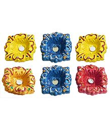 6 Hand Painted Square Terracotta Diyas