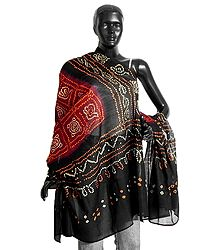 Maroon and Brown Bandhani Dupatta