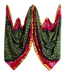 Green with Red Bandhni Gharchola Dupatta
