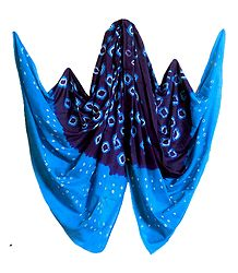 Cyan with Blue Bandhni Cotton Dupatta