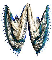 Off-White Bhagalpuri Silk Chunni with Peacock Design
