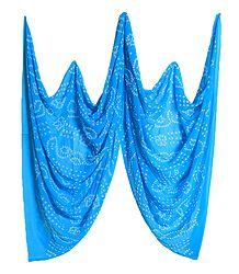 Light Cyan Bandhni Synthetic Dupatta