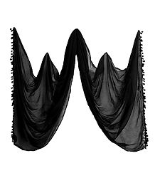 Black Synthetic Dupatta for Women