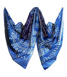 Blue Bandhni Cotton Chunni