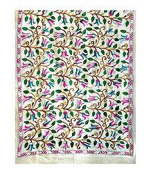 Kantha Stitch on Off-White Tussar Silk Dupatta