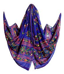 Purple Cotton Dupatta with Embroidery