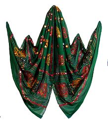 Green Cotton Dupatta with Embroidery