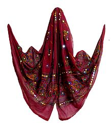Maroon Cotton Dupatta with Embroidery