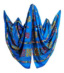 Dark Cyan Cotton Dupatta with Embroidery