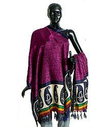 Tribal Design on Magenta Bhagalpuri Silk Chunni with Paisley Design and Purple Border
