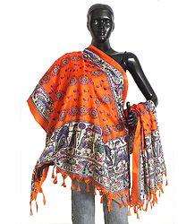 Floral Design on Saffron Bhagalpuri Silk Chunni with Madhubani Design on Border