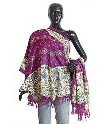 Floral Design on Magenta Bhagalpuri Silk Chunni with Madhubani Design on Border