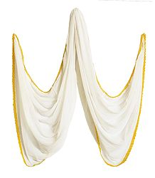 Plain White Synthetic Dupatta with Yellow Lace Border