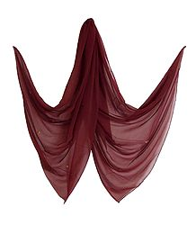 Plain Maroon Synthetic Dupatta