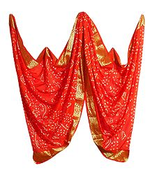 Art Silk Saffron Bandhej Chunni with Golden Border
