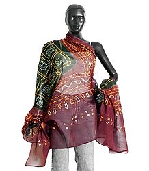 Green and Maroon Bandhani Dupatta