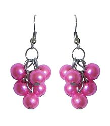 Pink Bead Grape Acrylic Earrings
