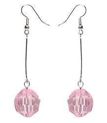 Dangle Earrings with a Pink Bead