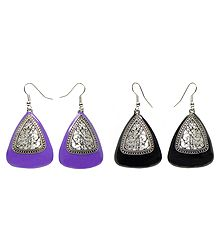 Set of 2 Pairs Black and Mauve Acrylic Dangle Earrings