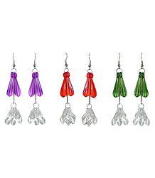 Set of 3 Pairs Acrylic Drop Earrings