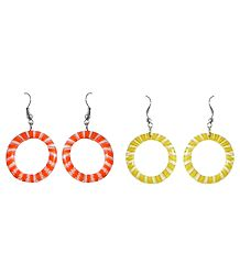 Set of 2 Pairs Saffron and Yellow Hoop Earrings