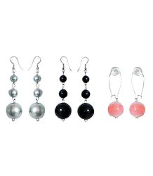 Set of 3 Pairs Grey, Black and Peach Ball Earrings