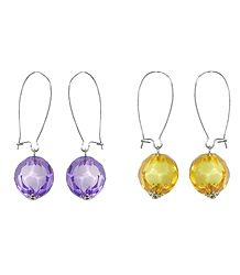 Set of 2 Pairs Mauve and Yellow Ball Earrings