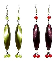 Set of 2 Pairs Green and Purple Acrylic Dangle Earrings