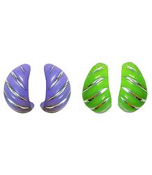 Set of 2 Pairs Green and Purple Half Ring Earrings