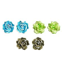 Set of 3 Pairs Blue, Green and Brown Acrylic Rose Tops