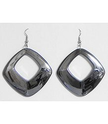 Dark Grey Acrylic Hoop Earrings