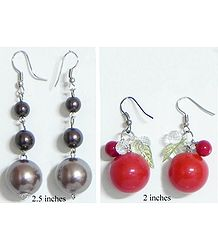 2 Pairs of Red and Brown Ball Earrings