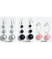Grey, Black and Peach Ball Earrings