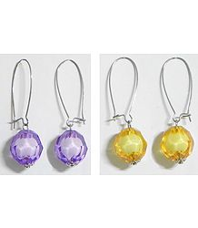2 Pairs of Mauve and Yellow Ball Earrings