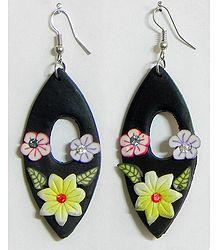 Black Floral Earrings