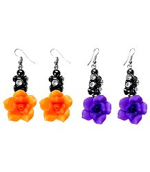 Set of 2 Pairs Saffron and Purple Acrylic Rose Earrings